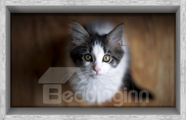 Adorable Cat Looking Up Slipping-Preventing Water-Proof Bathroom 3D Floor Sticker