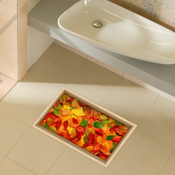 Colorful Tree Leaves Pattern Water-Proof Slipping-Preventing Bathroom 3D Floor Sticker