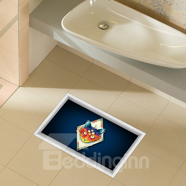 Creative Cat With Multiple Eyes Slipping-Preventing Water-Proof Bathroom 3D Floor Sticker