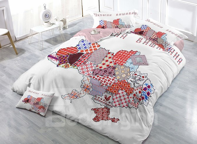 Creative Map Digital Print Satin Drill 4-Piece Duvet Cover Sets