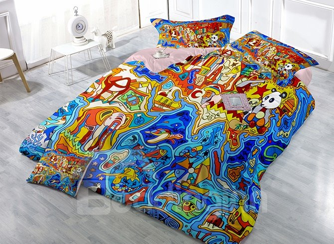 Luxury Creative Cartoon Animals Print Satin Drill 4-Piece Cotton Duvet Cover Sets