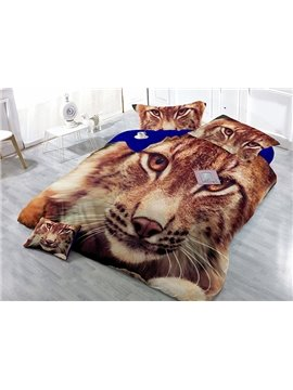 Powerful Crouched Tiger Print Satin Drill 4-Piece Duvet Cover Sets