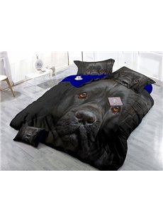 Cool Docile Black Dog Print Satin Drill 4-Piece Duvet Cover Sets