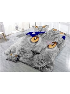 Spunky Gray Cat Print Satin Drill 4-Piece Cotton Duvet Cover Sets