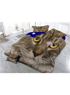 Fire-eyed Cat Print Satin Drill 4-Piece Duvet Cover Sets