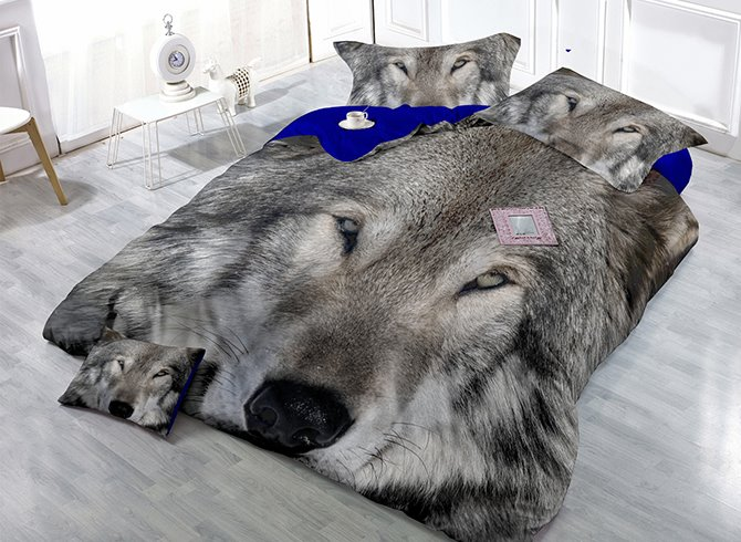 Vigorous 3D Gray Wolf Print Satin Drill 4-Piece Cotton Duvet Cover Sets