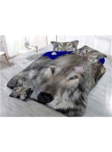 Vigorous 3D Gray Wolf Print Satin Drill 4-Piece Cotton Duvet Cover Sets