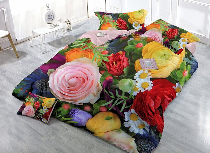 Vibrant Colorful Flowers Print Satin Drill 4-Piece Cotton Duvet Cover Sets