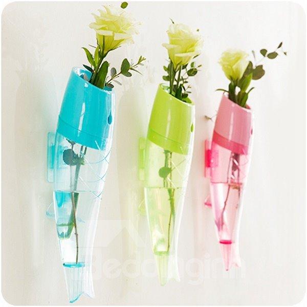 Unique Fish Design 3 Color Plastic Wall Flower Vase Beddinginn