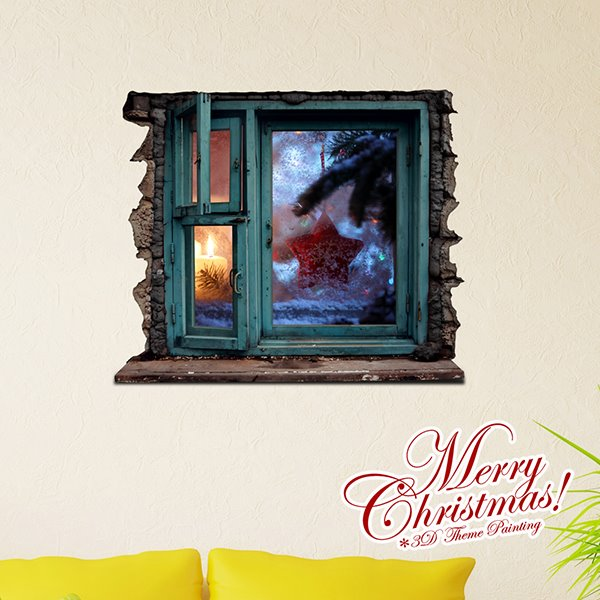 Festival Christmas Wall Decoration Window View 3D Wall Sticker