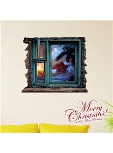 Festival Christmas Wall Decoration Window View 3D Wall Sticker