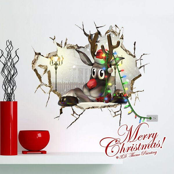 Festival Christmas Cartoon Reindeer Through Wall Hole 3D Wall Sticker
