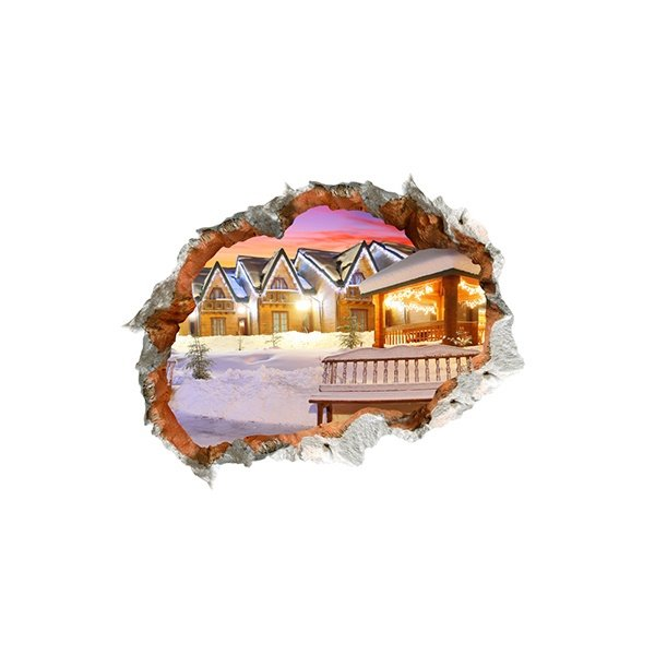 Festival Christmas Warm Lightlit Cottages Through Wall Hole 3D Wall Sticker