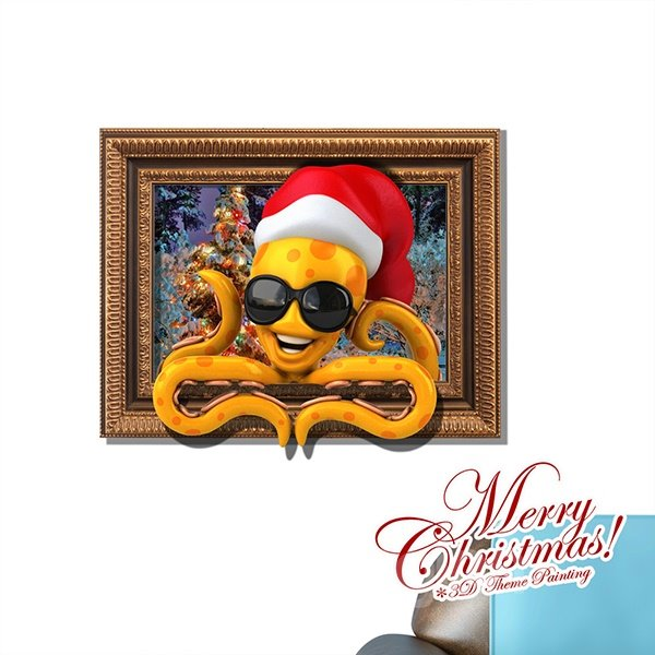 Cartoon Octopus in Christmas Hat Removable 3D Wall Sticker