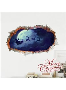 Christmas Santa Claus Night Sky Rides in the Moon Removable 3D Wall Sticker