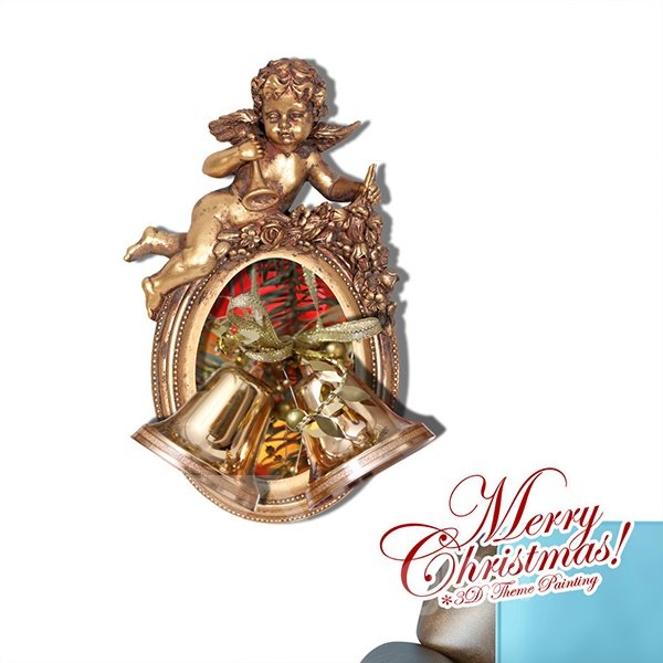 Festival Christmas Bells and Little Angel Removable 3D Wall Sticker