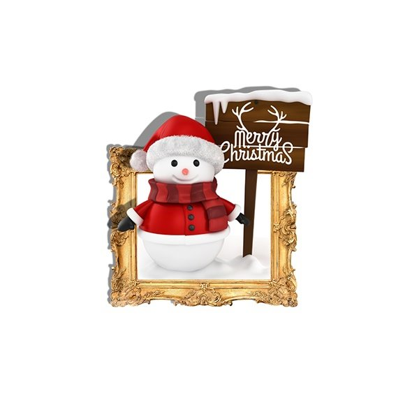 Christmas Cute Little Snowman in Costume Removable 3D Wall Sticker