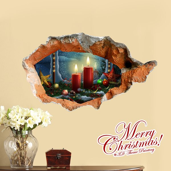 Festival Christmal Lighting Candle and Decorative Stars Removable 3D Wall Sticker