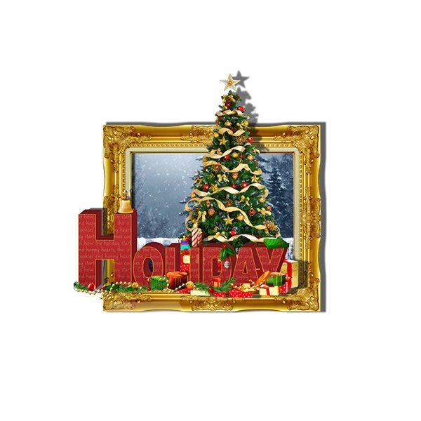 Festival 3D Christmas Trees in Framed Picture Removable 3D Wall Sticker