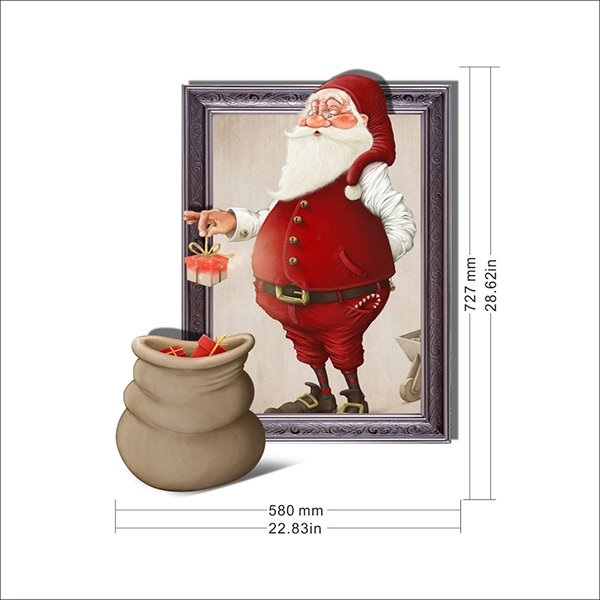 Festival Kind Santa Claus with Bags of Gifts Removable 3D Wall Sticker