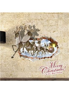 Christmas Reindeer Through Wall Hole Removable 3D Wall Sticker