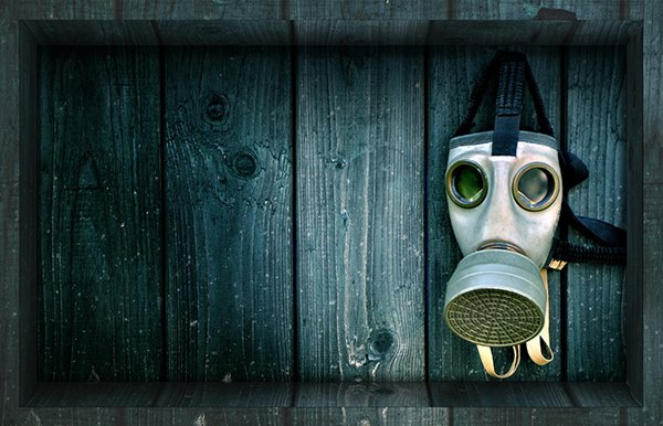 Unique Gas Mask in Wood Box Slipping-Preventing Water-Proof Bathroom 3D Floor Sticker