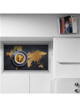 World Map with Brazil Hightlight in Coffee Slipping-Preventing Water-Proof Kitchen 3D Floor Sticker
