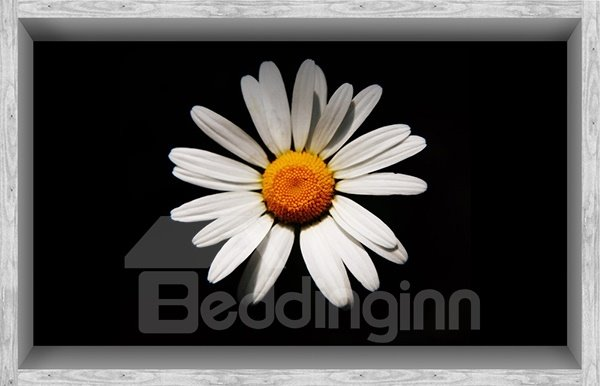 Unique White Daisy in Black Background Slipping-Preventing Water-Proof Bathroom 3D Floor Sticker
