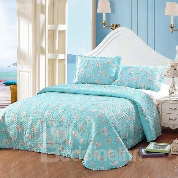 Fresh Flowers Print Sky Blue 3-Piece Cotton Bed in a Bag