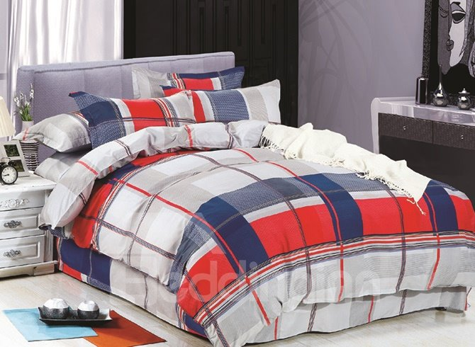 Classical Fashion Plaid Polyester 4-Piece Duvet Cover Sets