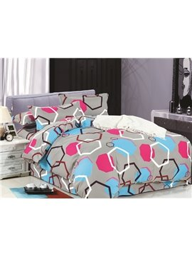 Contemporary Geometric Figure Design Gray 4-Piece Duvet Cover Sets