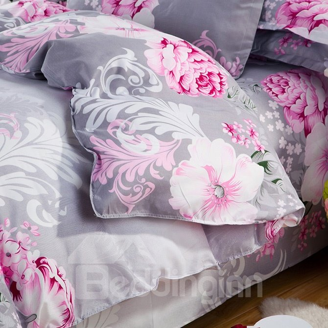 Big Pink Flowers Print Gray 4 Piece Polyester Duvet Cover