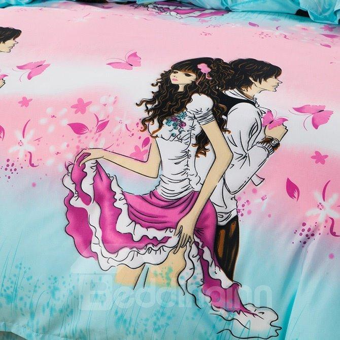 Romantic Lover Pink Butterflies Print 4-Piece Duvet Cover Sets