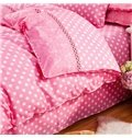 Likable Polka Dots Design Pink 4-Piece Duvet Cover Sets
