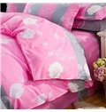 Cuddly Flowers Design 4-Piece Polyester Bedding Sets/Duvet Cover
