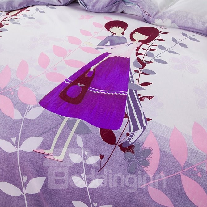 Cartoon Lovers and Plant Print Purple 4-Piece Duvet Cover Sets
