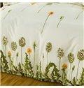 Refreshing Green Dandelion Print 4-Piece Polyester Bedding Sets/Duvet Cover