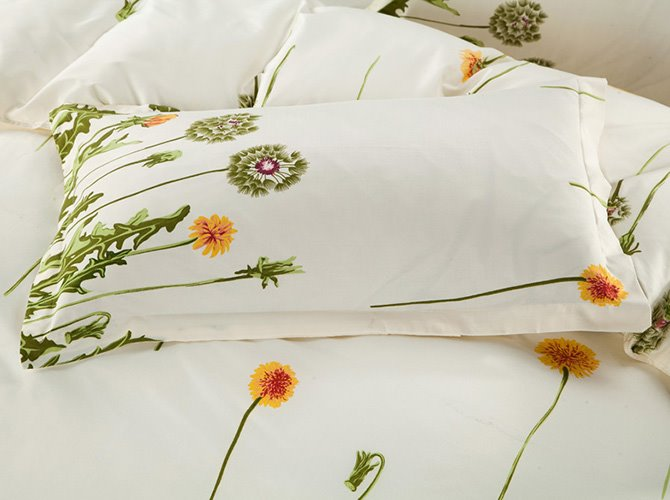 Refreshing Green Dandelion Print 4-Piece Polyester Duvet Cover Sets
