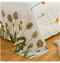 Green Dandelion Pattern Fresh Style 4-Piece Bedding Sets/Duvet Cover