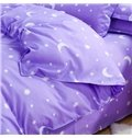 Fancy Stars and Crescent Print Purple 4-Piece Duvet Cover Sets