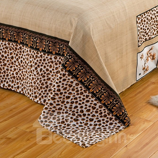 Royal Style Fashion Leopard Print Camel 4-Piece Duvet Cover Sets