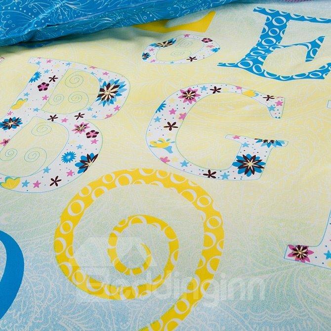 Stylish Alphabet Flowers Design 4-Piece Polyester Duvet Cover Sets