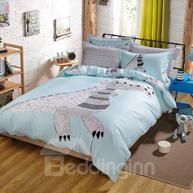 Light Blue Dinosaur Print Kids Duvet Cover Set