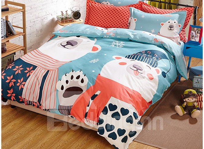 Cute Two Bears in Winter Clothes Print Kids Duvet Cover Set