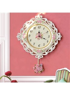 European Pastoral Decorative Flower Pattern Pendulum Resin Mute Wall Clock