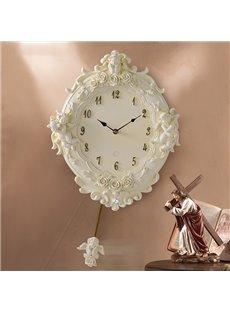 European Style Cute Angel Resin Mute Wall Clock