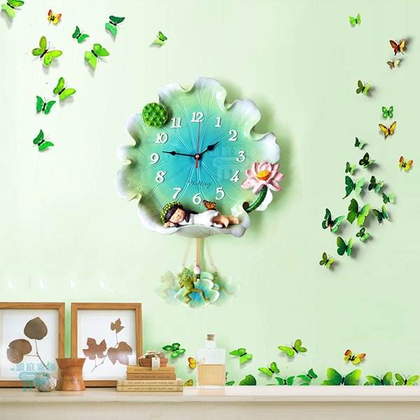 Unique Little Girl Sleeping on Lotus Leaf Resin Decorative Wall Clock