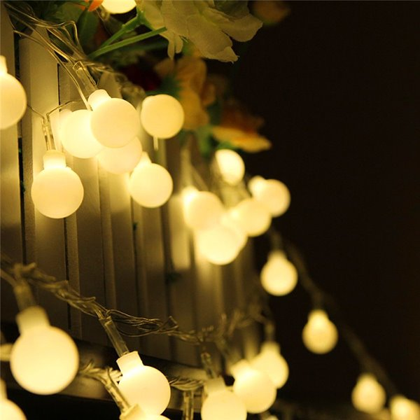 White Round 80 String Bulbs Battery Decorative LED Lights