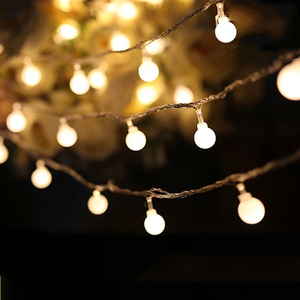 White round 80 string bulbs battery decorative led lights - Indoor string light decoration ideas ...