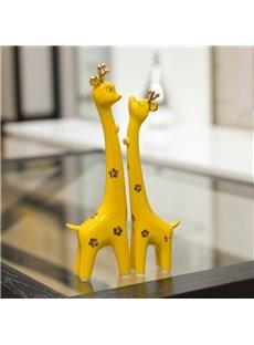 Adorable 1-Pair Ceramic Giraffe in Love Desktop Decoration